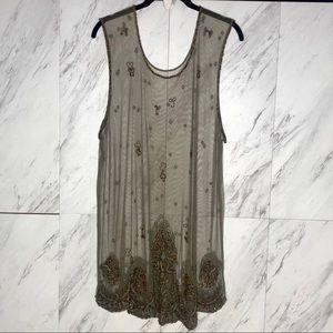 VTG Sheer Mesh Beaded Coverup Dress XL